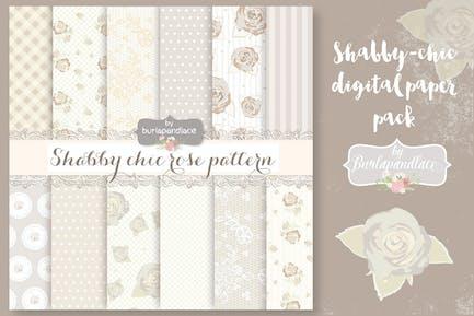 Shabby-chic beige roses digital paper pack