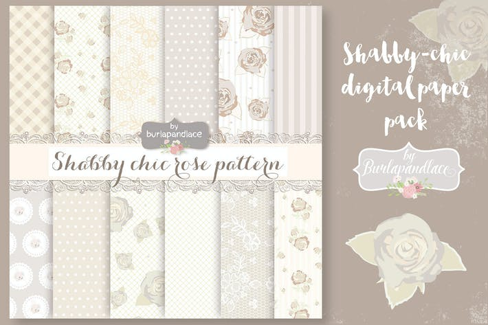 Thumbnail for Shabby-chic beige roses digital paper pack
