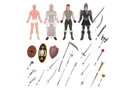 Mittelalter Avatar mit Rüstungen und Waffen