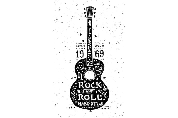 Thumbnail for Illustration of vintage grunge label with guitar