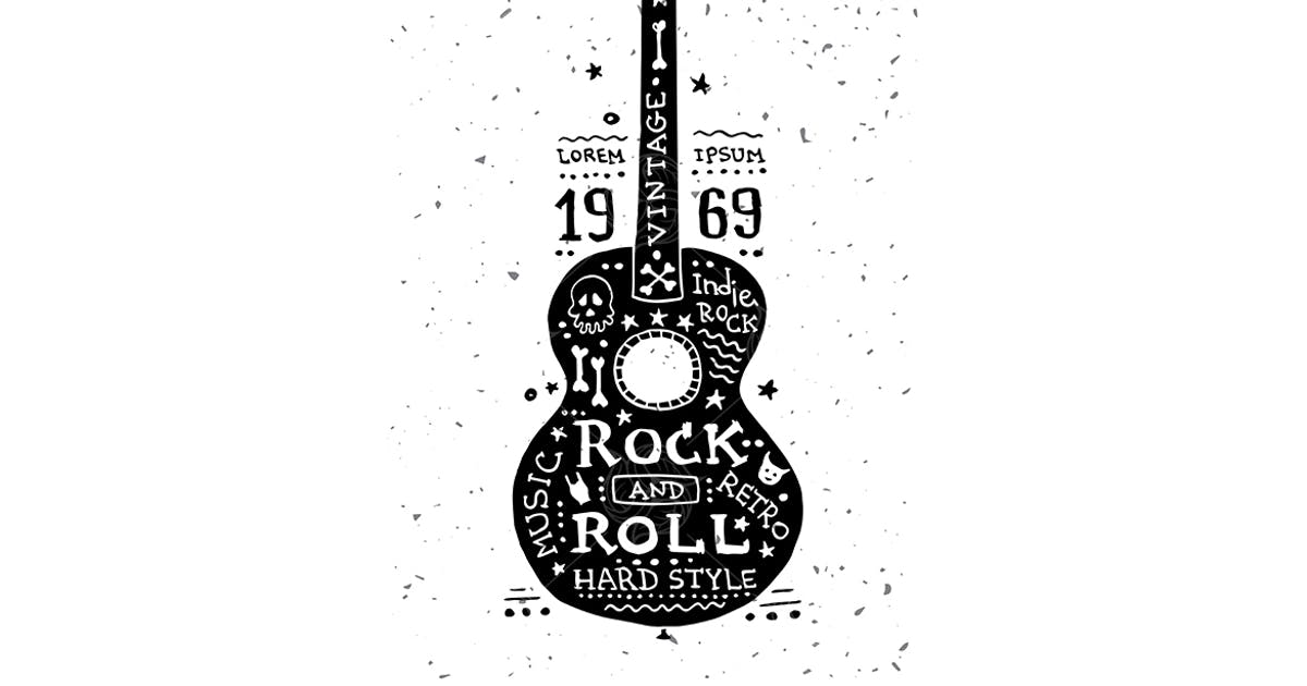 Download Illustration of vintage grunge label with guitar by BoykoPictures
