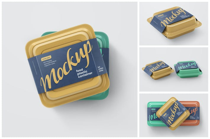 Plastic Food Container Mockup Set