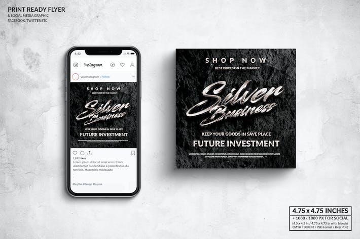 Silver Business Square Flyer & Social Media