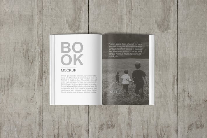 Open Book Mockup Top View