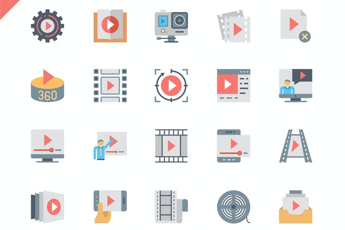 Thumbnail for Simple Set Video Content Flat Icons