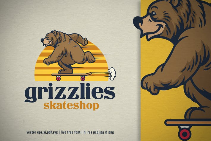 retro logo of grizzly bear cartoon skateboarding