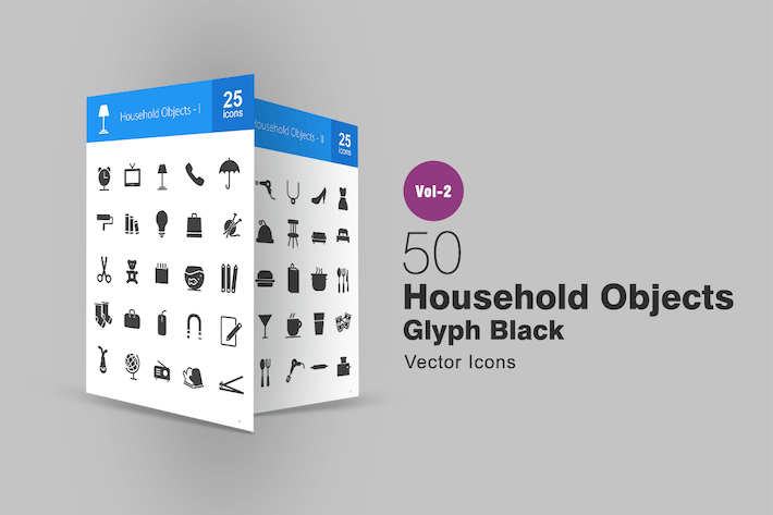 Thumbnail for 50 Household Objects Glyph Icons