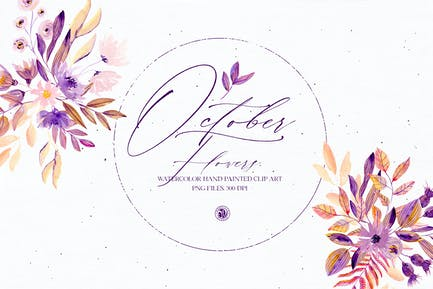 Watercolor set - October Flowers
