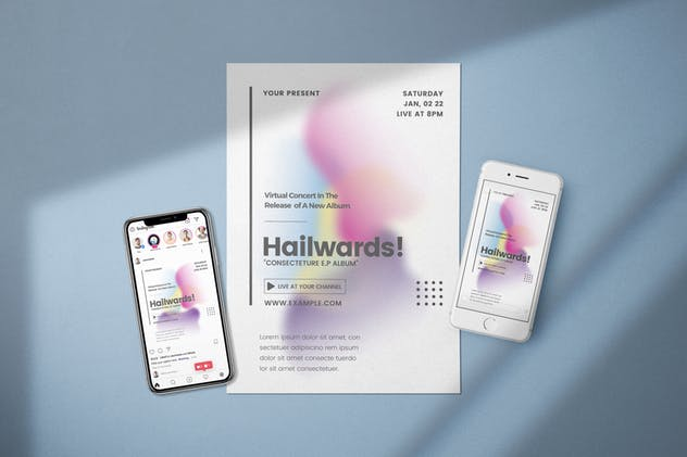 Virtual Concert - Blur Shape Flyer Media Kit