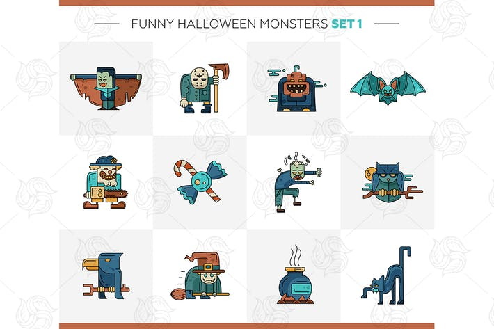 Thumbnail for Halloween Monsters - vector flat design icons set