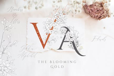 Blooming Gold Floral Letters Numbers