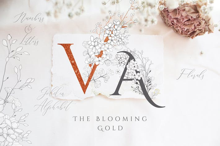 Thumbnail for Blooming Gold Floral Letters Numbers