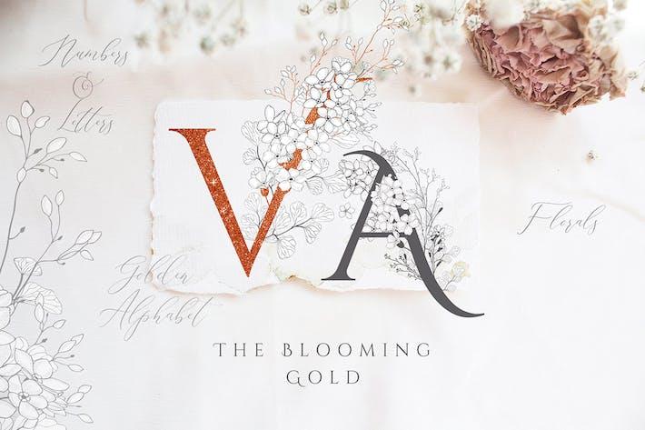 Thumbnail for Lettres florales dorées en fleurs