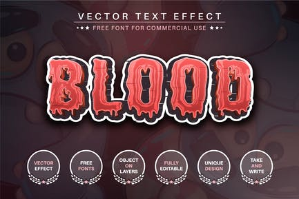 Blood - editable text effect, font style