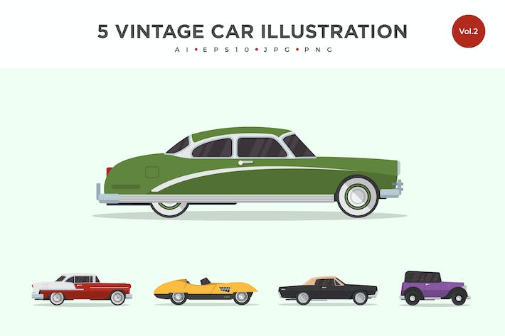 Thumbnail for 5 Vintage Classic Car Vector Illustration Set 2