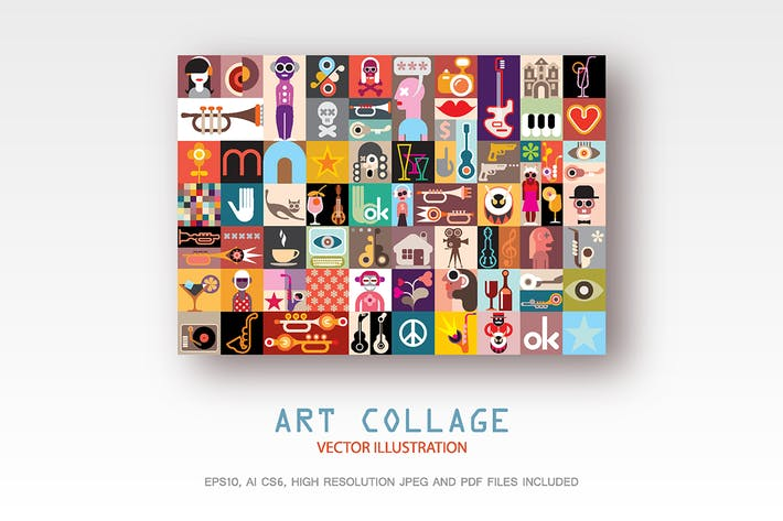 Cover Image For Art Collage vector illustration