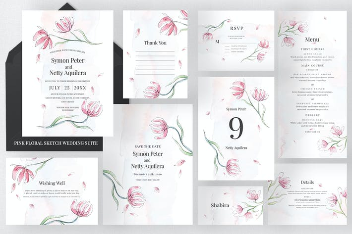 Thumbnail for Pink Floral Sketch Wedding Suite