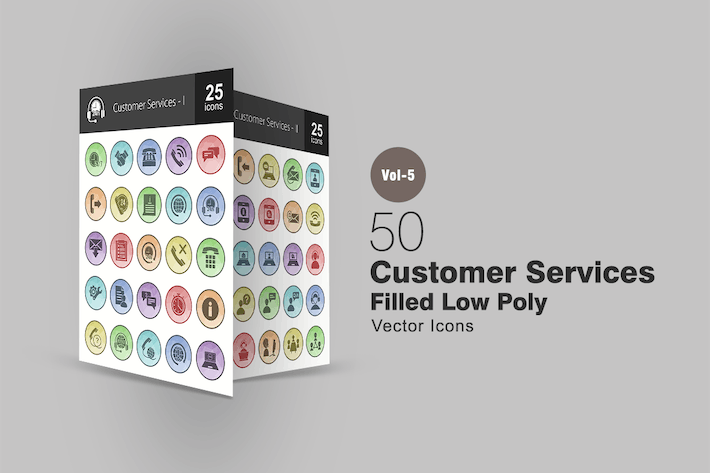 Thumbnail for 50 Customer Services Filled Low Poly Icons
