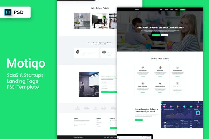 Thumbnail for Saas & Startup - Landing Page PSD Template