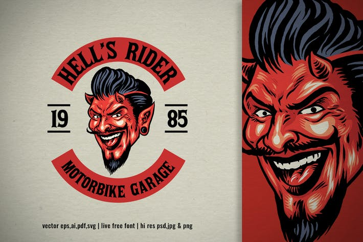 devil head for old motorcycle club logo