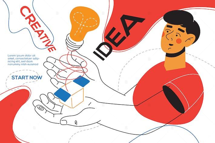 Thumbnail for Idea creativa - Banner web estilo de diseño plano