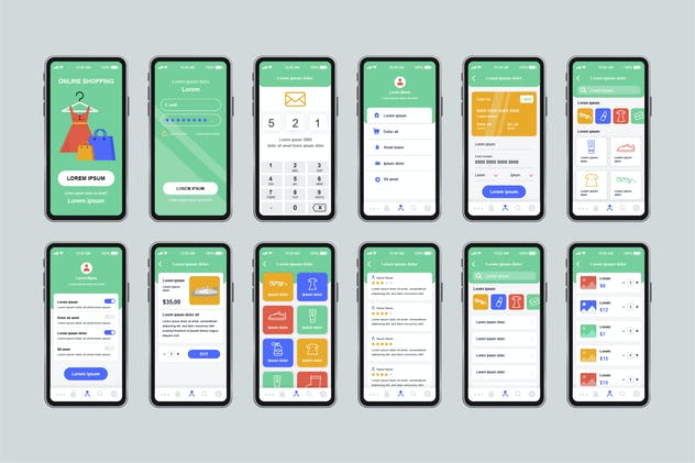 GUI Layout Shopping Unique Mobile App UI Kit