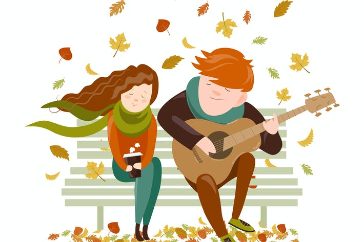 Thumbnail for Boy plays guitar for a girl in the autumn park