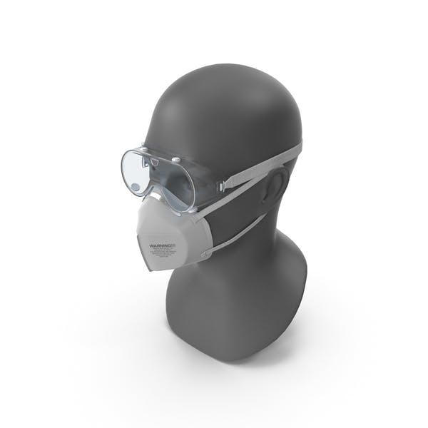 N95-Atemschutzmaske und Schutzbrille