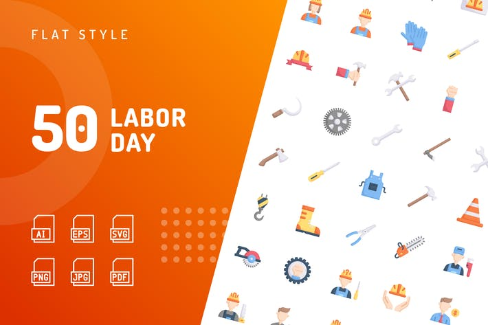 Thumbnail for Labor Day Flat Icons