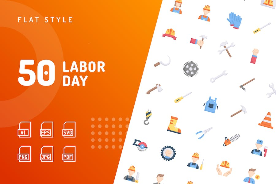 Labor Day Flat Icons