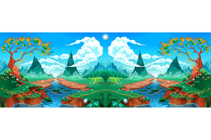 Thumbnail for Natural Landscape with Rivers, Trees and Mountains