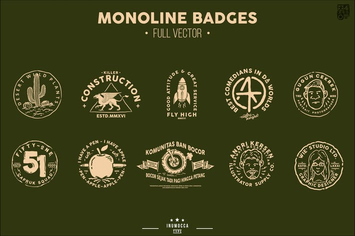 Thumbnail for Monoline Vintage Badges
