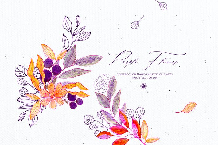 Thumbnail for Watercolor Purple Flowers