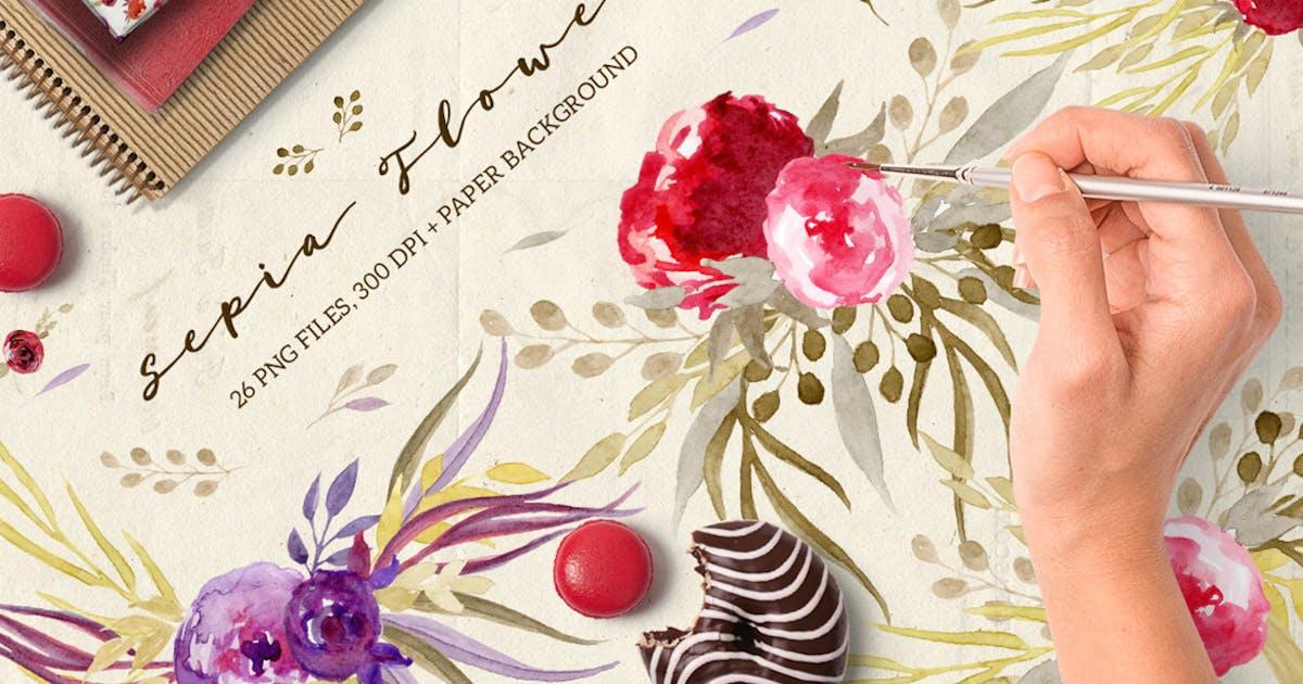 Sepia Flowers by Webvilla