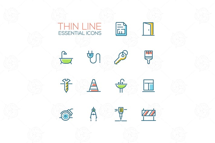 Thumbnail for Home, Road Repair - Thin Line Icons Set