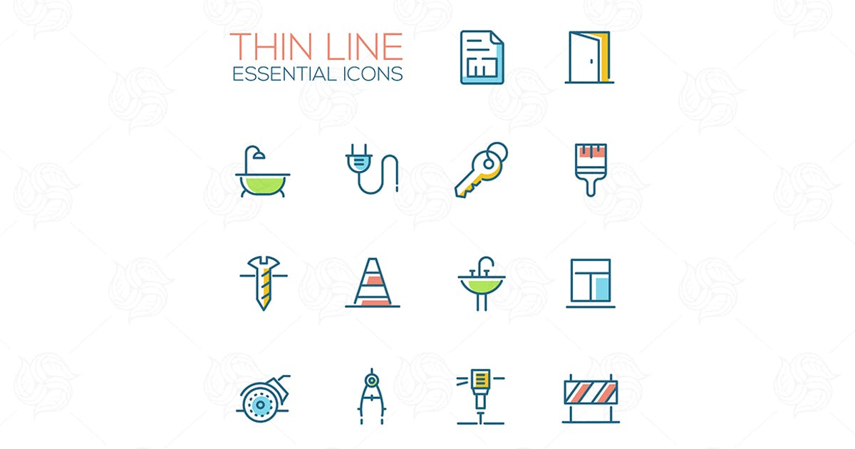 Download Home, Road Repair - Thin Line Icons Set by BoykoPictures