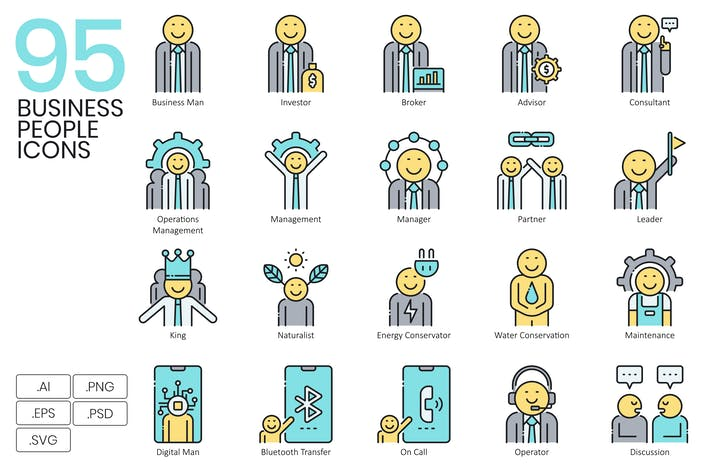 Thumbnail for 95 Business People Icons | Aqua Series