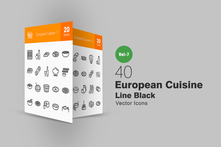 Thumbnail for 40 European Cuisine Line Icons