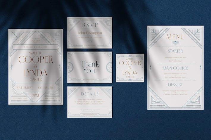 Thumbnail for Art Deco Wedding Invitation Pack