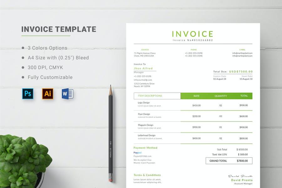 Printable Invoice for Microsoft Word