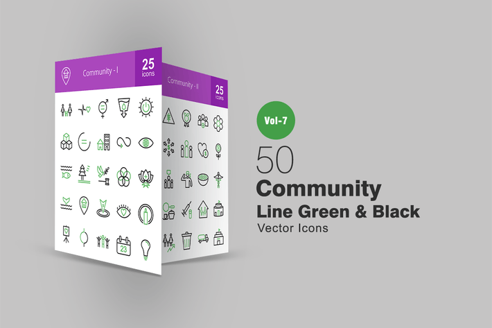 Thumbnail for 50 Community Green & Black Line Icons