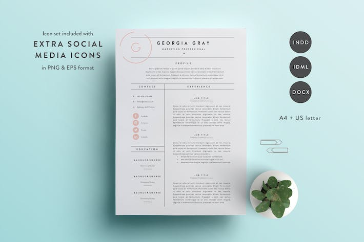 cover image for resume template 3 page cv template indd docx