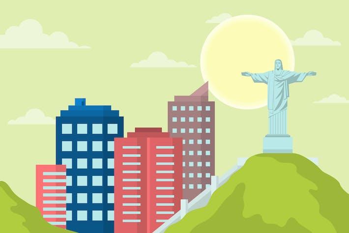 Rio De Janeiro - Landscape & Building Illustration