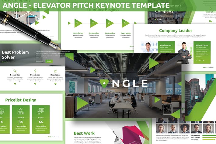 Thumbnail for Angle - Elevator Pitch Keynote Template