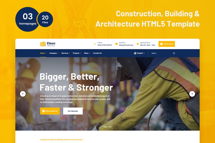 Eteon - Construction and Building HTML5 Template - product preview 4