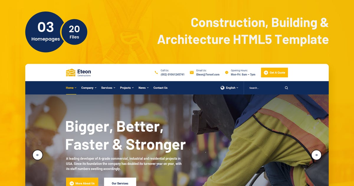 Download Eteon - Construction and Building HTML5 Tثmplate by 7oroof