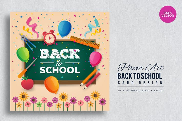 Thumbnail for Paper Art Back To School Vector Card Vol.1