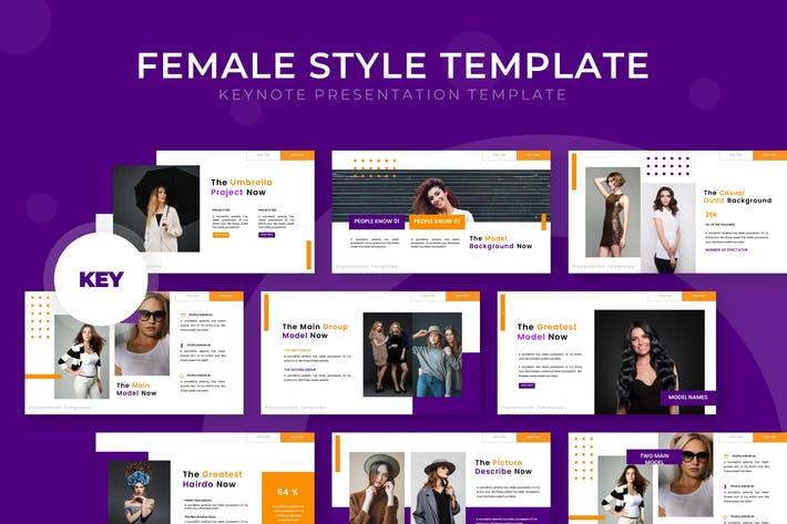 Thumbnail for Female Style - Keynote Template