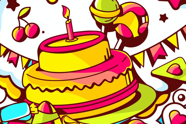 Thumbnail for Happy birthday illustrations with numbers