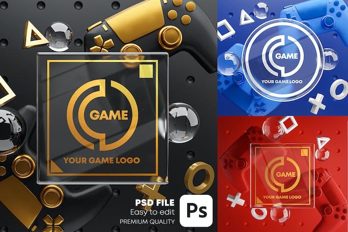 Thumbnail for Gaming Glass Logo Mockup Gamepad Pack